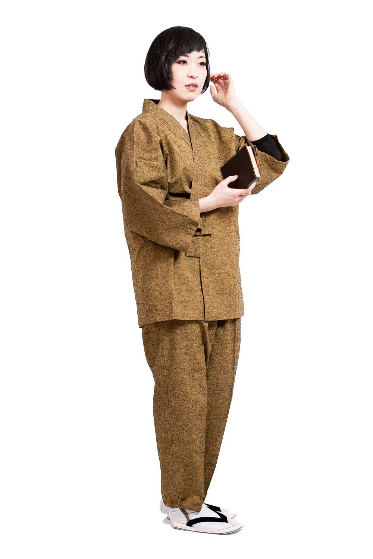 作務衣 さむえ レディース 日本製 通年 おしゃれ samue 藍紬 久留米 女性 綿 無地 紬織 ギフト 敬老の日 B01N4WHAF2 M|マスタード マスタード M