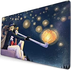Large Extended Gaming Mouse Pad with Stitched Edge Durable Mouse Mat One Piece Popular Anime Monkey D. Luffy Keyboard Pad Non-Slip Mice Pads for Computer Laptop Office Learning