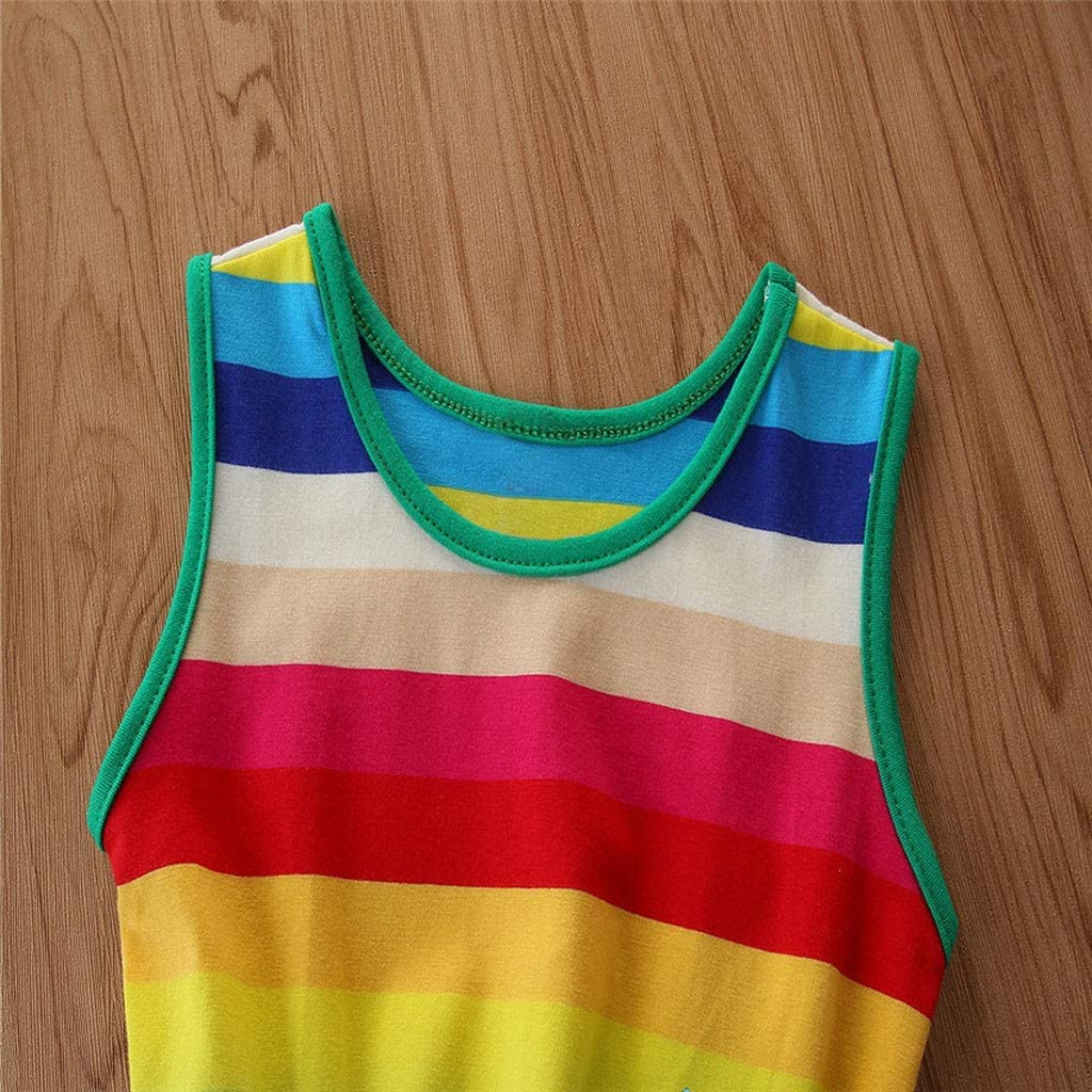 Toddler Baby Girls Suspender Rainbow Striped Princess Party Dress Outfits 1-7 Years Girls Sundress