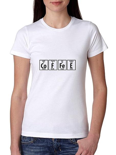 Café divertido de la tabla periódica química Science camiseta de algodón de las mujeres: Amazon.es: Ropa y accesorios