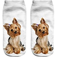 Kinlene Calcetines cortos unisex divertidos populares 3D Perro Impreso tobilleras Calcetines Calcetines casuales