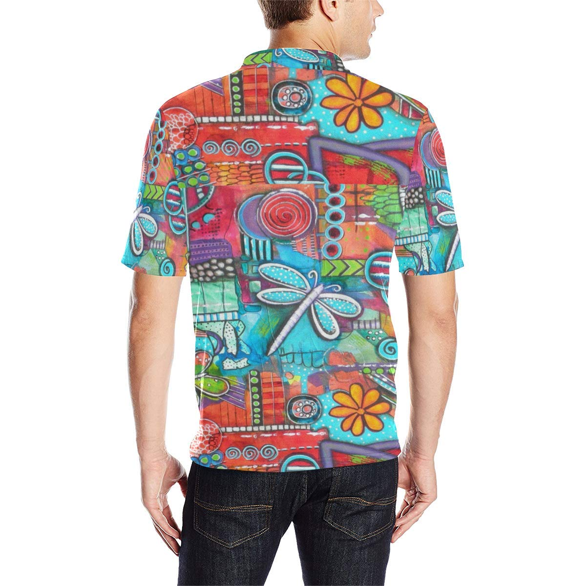 BrowneOLp Short Sleeve Abstract Floral Blouse Mens All Over Print Polo Shirt
