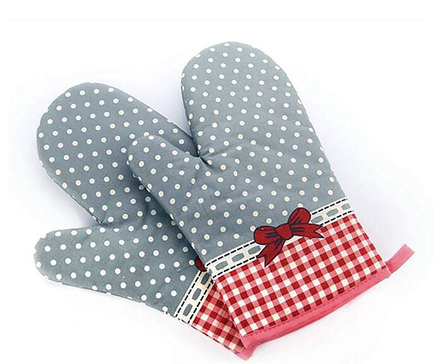 Set of Two Oven Mitts | Heat Resistant Cotton Kitchen Pot Holder Gloves for Cooking,Barbecue,Baking,Grilling (Dotted With Ribbon Christmas Red)