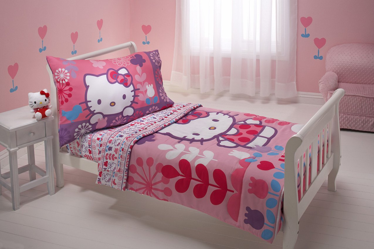 Hello kitty toddler bed frame - Amazon Com Sanrio 4 Piece Toddler Bedding Set Hello Kitty Modern Garden Discontinued By Manufacturer Baby
