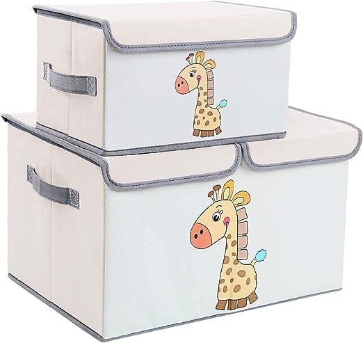 DIMJ Juego de 2 Cajas de Almacenaje Juguetes Plegable, Caja Organizadora de Juguetes con Tapa y Asa, Caja de Tela Patrón Lindo Jirafa para Niños (Gris): Amazon.es: Hogar