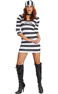 97b3800e001c Fiori Paolo- Prigioniera Alcatraz Costume Donna Adulto, Nero, Taglia 40-42,