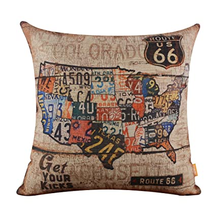linkwell 18 quot x18 quot vintage american map usa route 66 burlap cushion