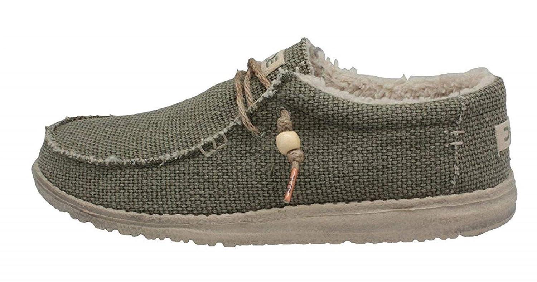Dude Schuhes Herren Pelz Gefüttert Grün Wally Natürliche Chalet Khaki Grün Gefüttert fd5743
