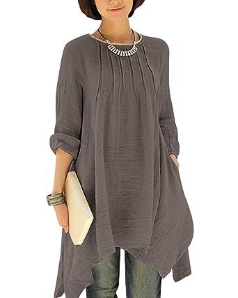 3d4625ca9e2 BIUBIU Women's Plus Size Long Sleeve Cotton Linen Irregular Shirt Dress  Gray M