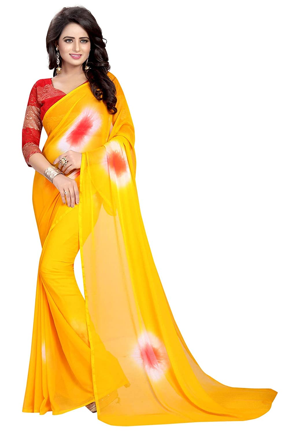 Shonaya Women's Chiffon Yellow Printed Saree with Unstitched Blouse Piece YELLOW-CHIFFON