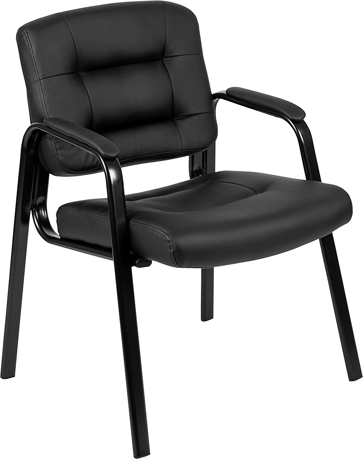 Flash Fundamentals Black LeatherSoft Executive Reception Chair with Black Metal Frame