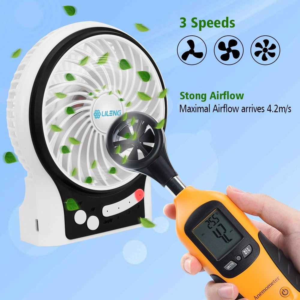 Personal Portable Mini USB Rechargeable Cooling Fan with LED Light for Traveling Room Office Car Household Outdoor 3 Speeds, Black MFV-001F VersionTECH Desk Fan