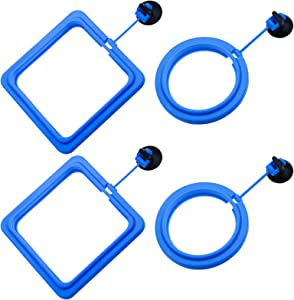 Lystaii 4pcs Fish Feeding Ring Floating Fish Feeder Circle Aquarium Fish Tank Square and Round Shape Feeding Ring with Suction Cup for Guppy, Betta, Goldfish