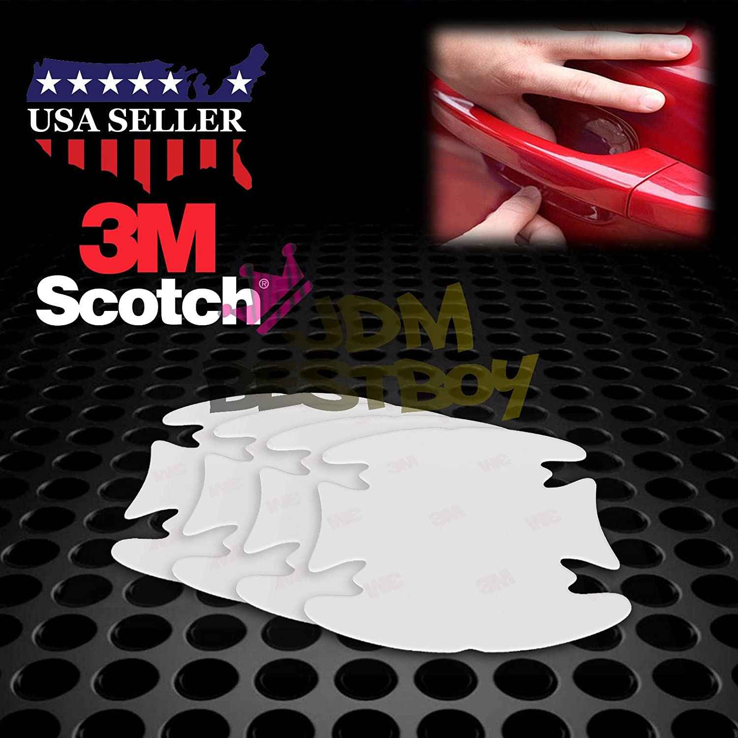 JDMBESTBOY 4PCs 3M Scotchguard Clear Door Cup Handle Paint Scratch Protection Protector Guard Film Bra