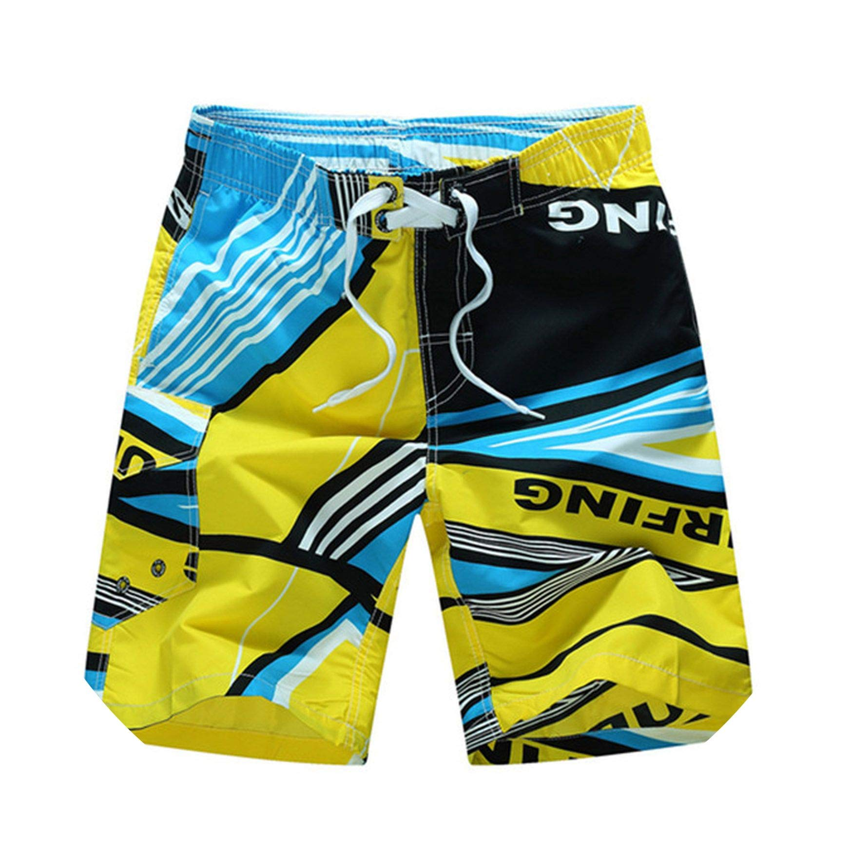 Swimming Shorts for Men Swim Shorts Plus Size Swimwear Mens Swim Trunks Bermuda Surfing Beach wear Swimsuit 6XL,1521 Yellow,M by SMALL FAT