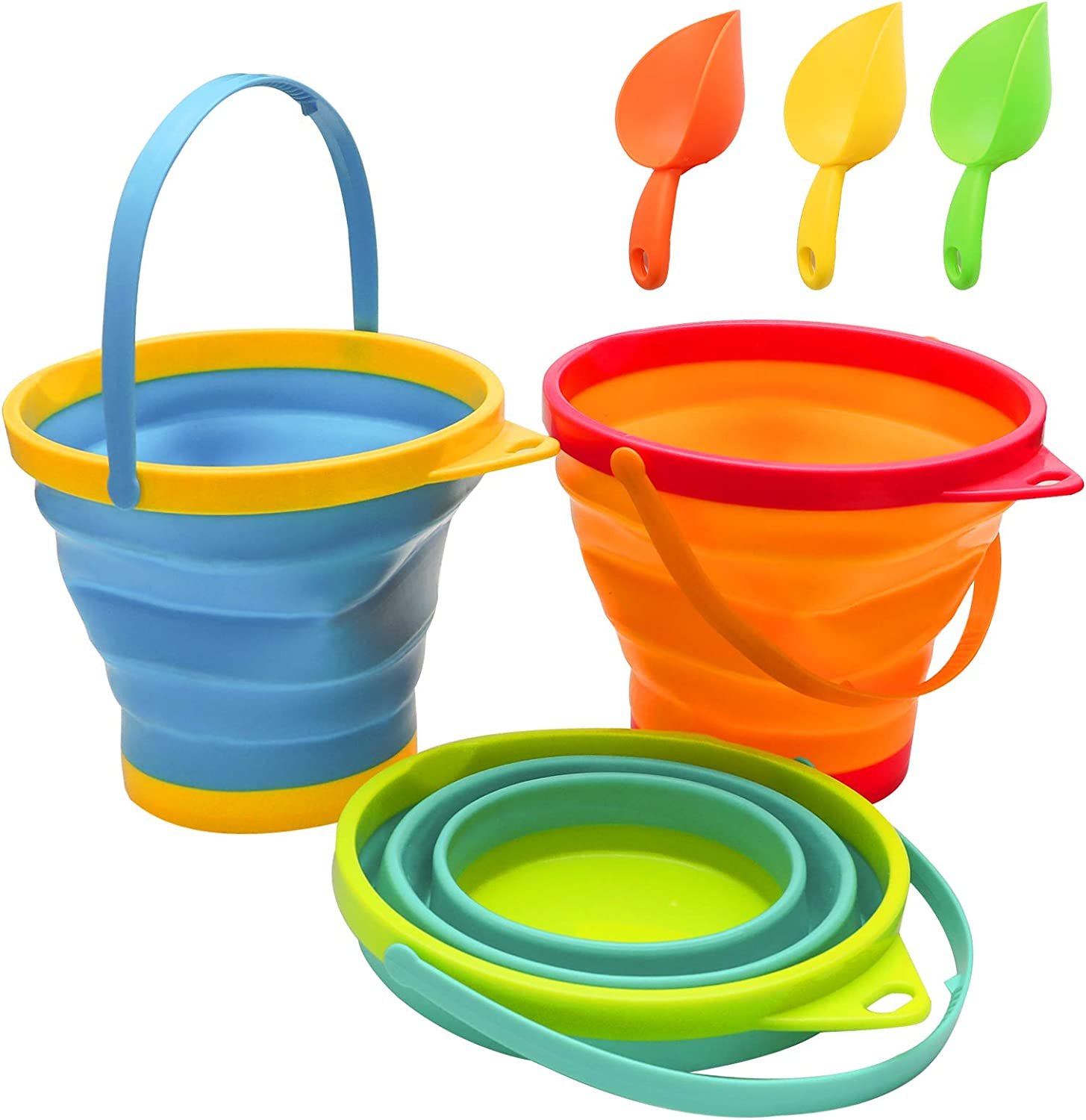 Holady Collapsible Buckets,Sand Buckets and Sand Shovels Set for Kids,Foldable Pail Bucket Multi Purpose for Beach, Camping Gear Water and Food Jug, Dog Bowls--2.5 L(3 PCS)