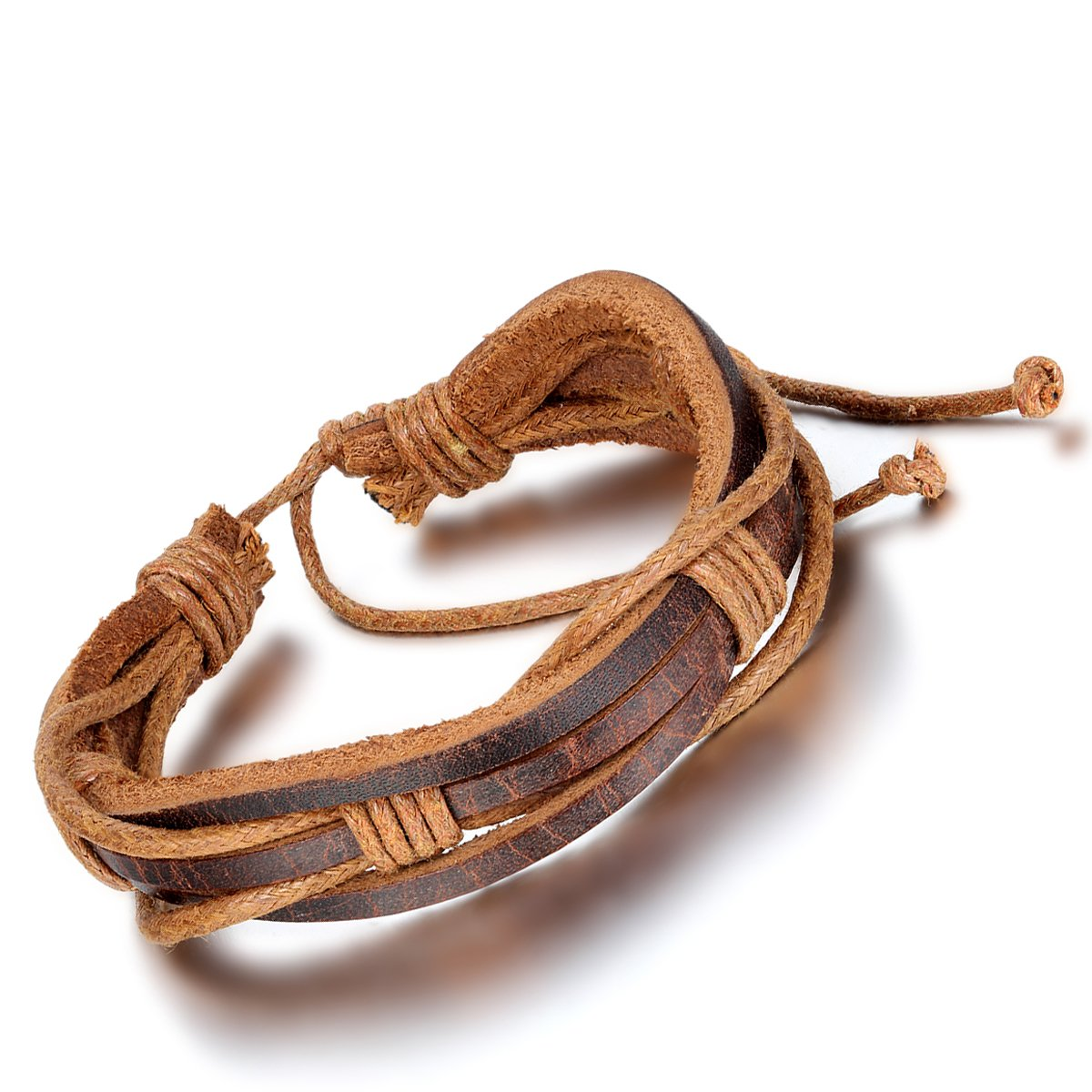 Flongo Mens Womens Tribal Brown Braided Multi-Layers Leather Rope Wrap Surfer Cuff Bracelet, Fit 7-9 inch Wrist