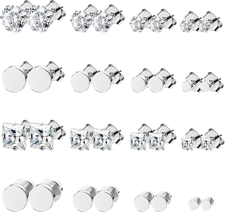 Yadoca 16 Pares Acero inoxidable Pendiente Para Hombres Mujeres Barbell Zirconia Cúbica Piercings de Oreja 3-6mm: Amazon.es: Joyería