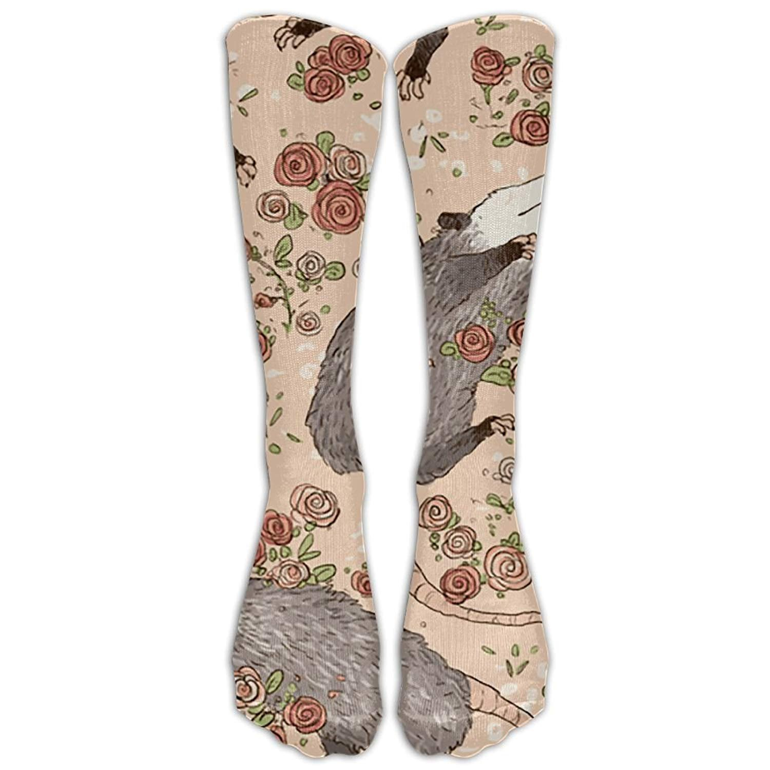 Womens Befuddled Possums Printed Sock Over Knee High Boots Girls Long Socks
