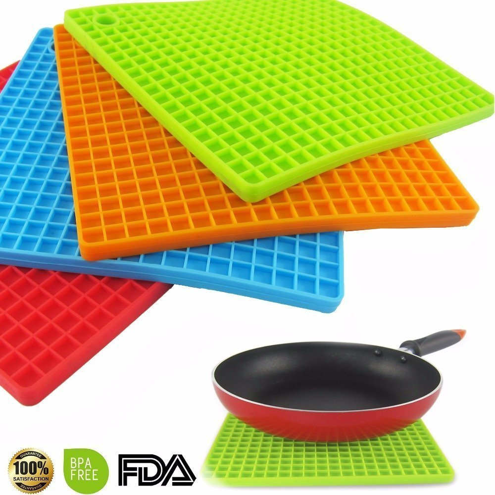 ZivaTech Set of 4 Silicone Pot Holder, Trivet Mat, jar Opener, spoon Rest - Non Slip, Flexible, Durable, Heat Resistant Hot Pads(7-inch)