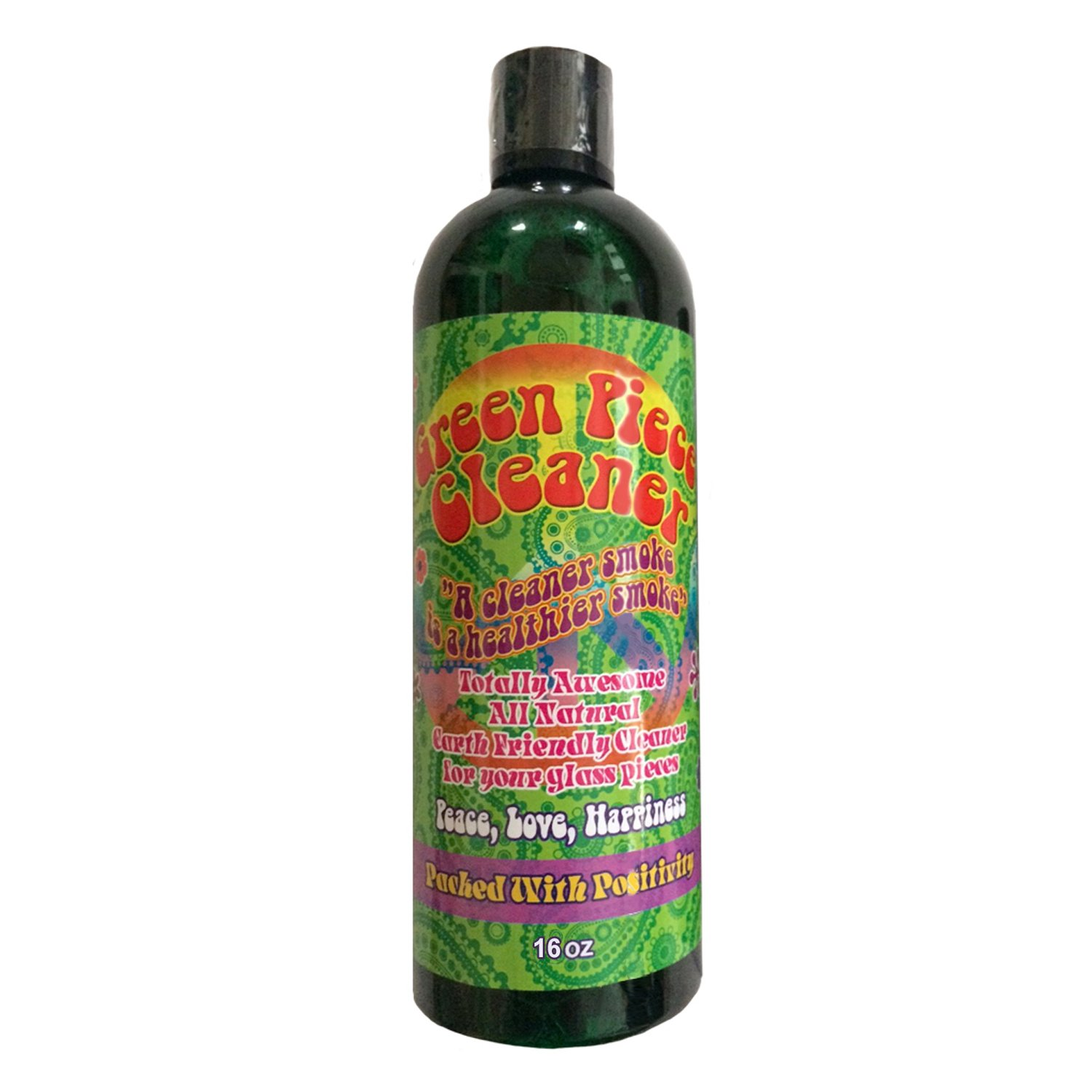 Green Piece Cleaner 16 oz - The All Natural Glass Cleaner, Metal and Ceramic Water Pipe/Bong/Bubbler - Earth Friendly Resin and Tar Remover