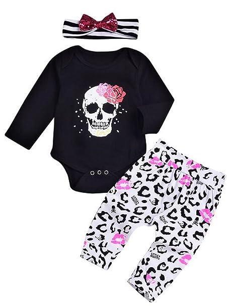 3pcs Newborn Baby Boys Skull Clothes Romper Jumpsuit Bodysuit+Pants Outfits Set