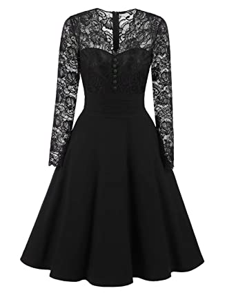 Adodress Womens Autumn Long Sleeves Short Prom Dresses Formal Casual Swing Party Cocktail Dresses S-