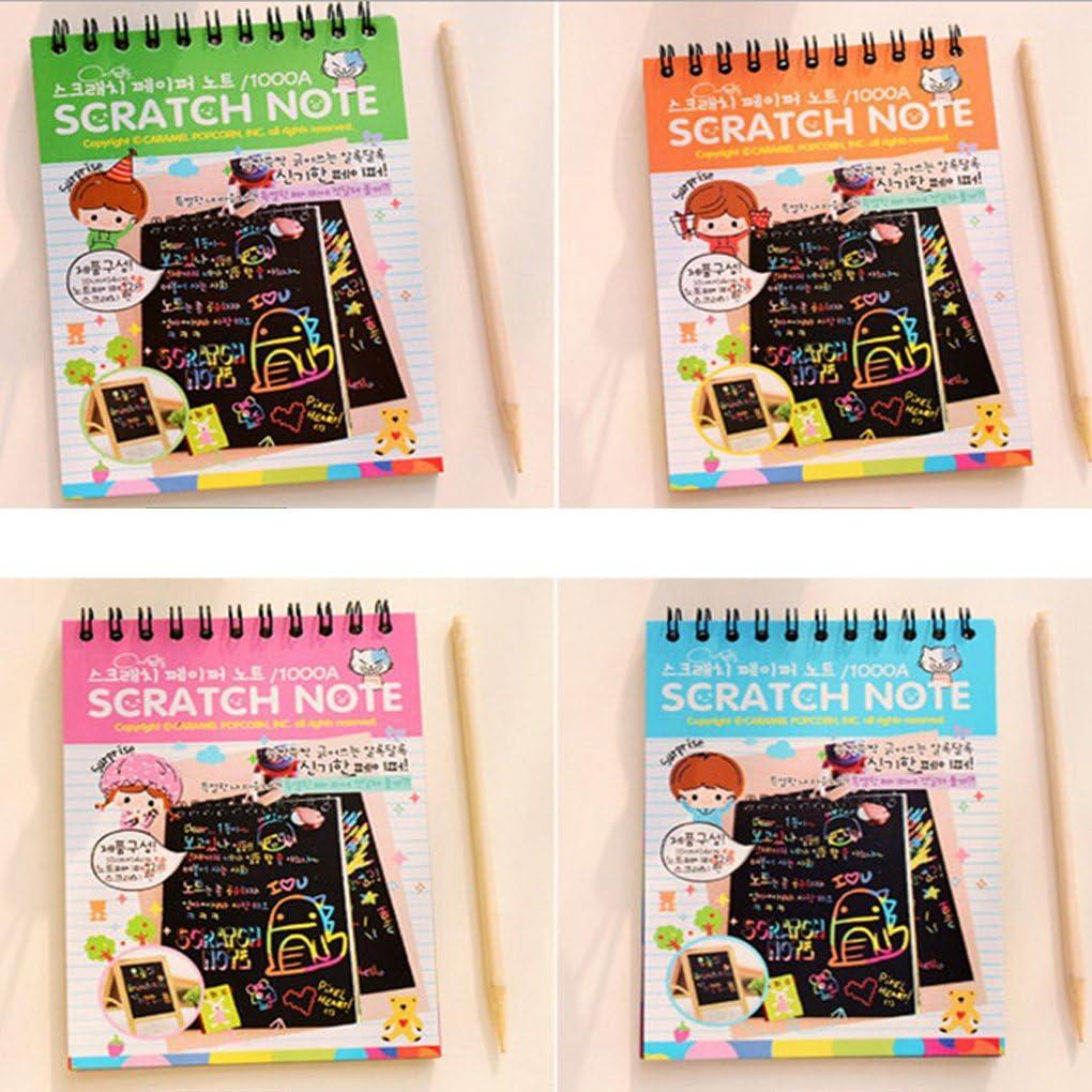 1 Book Colorful Dazzle Scratch Note Sketchbook Paper Graffiti Bobine Fai da Te Drawing Book Colore Casuale Regard 10 Pages