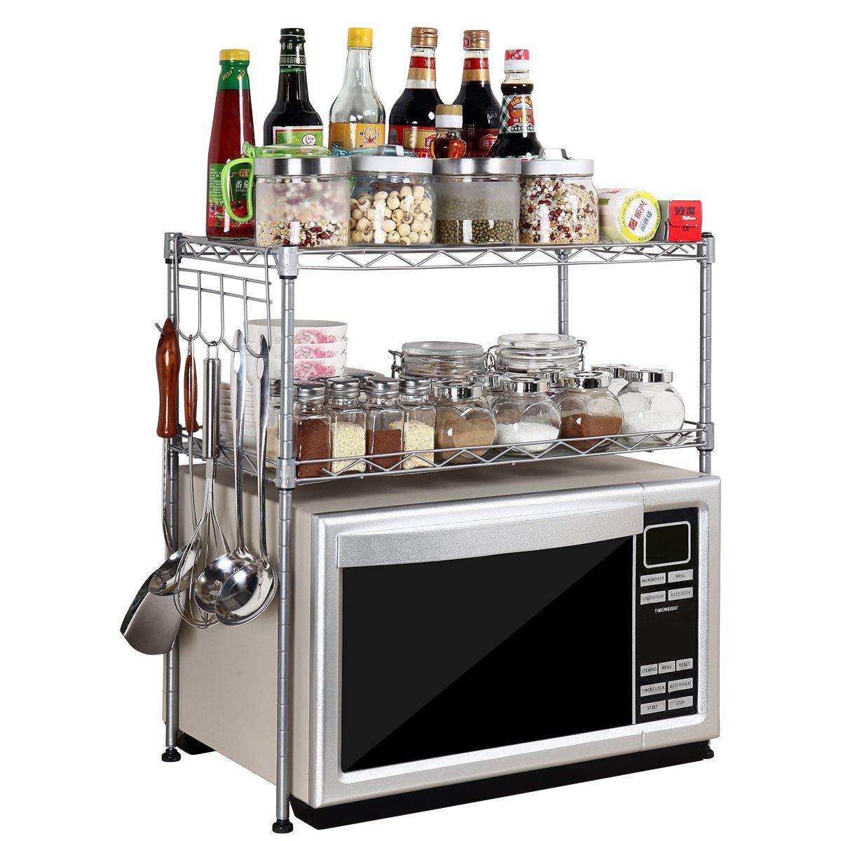 USUN Silver Steel 2-Tier D30cm W55cm H55cm Adjustable Microwave Oven Storage Rack Kitchen Tableware Shelves Counter and Cabinet Shelf with 4 Side Hooks WJG3055-SL