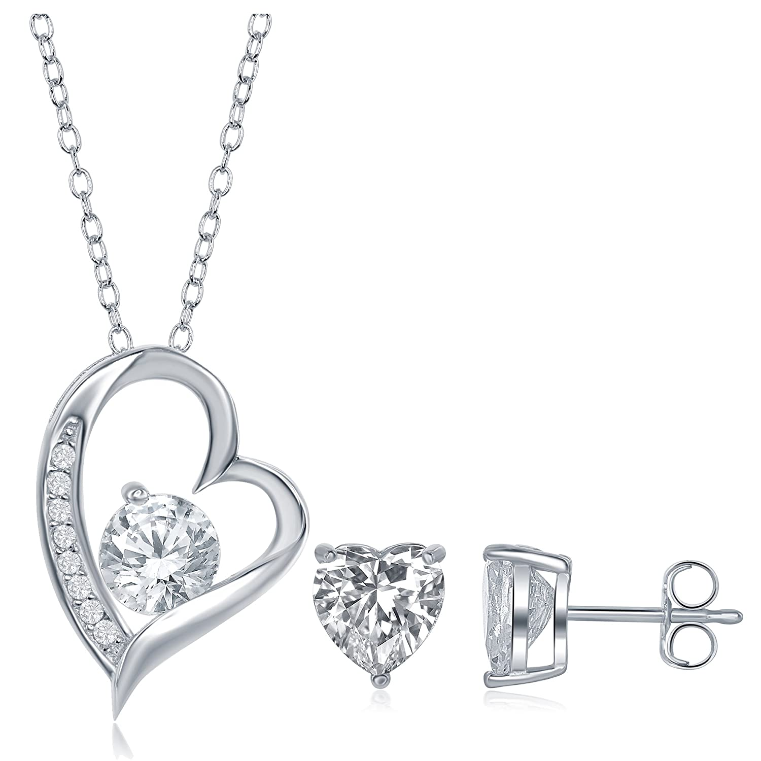 c3ee796039 Amazon.com: AceLay Overlay 925 Sterling Silver Forever Lover Heart Pendant  Necklace CZ Stones and a Free Heart Cz Stud Heart Necklace: Jewelry