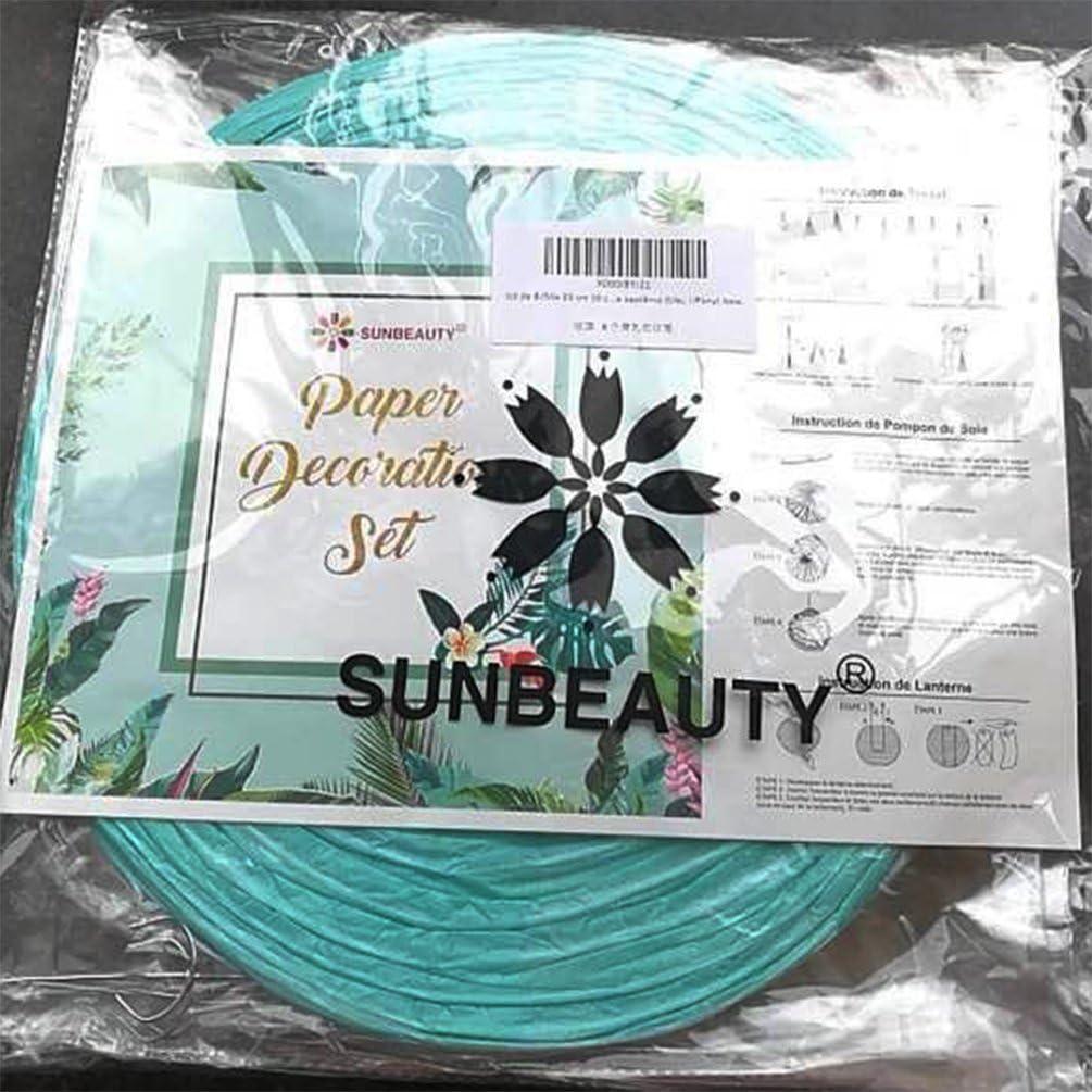 Mix 20 cm 30 cm SUNBEAUTY Lanterne Papier Chinoise Boule Lampion Bleu Deco Mariage Decoration Bapteme Anniversaire Baby Shower Lot de 8