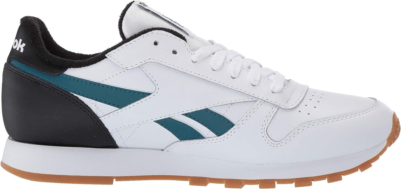 Reebok Herren Classic Leather Turnschuh, Marmor/Weiß, 38.5 EU Weiß Schwarz Blaugrün