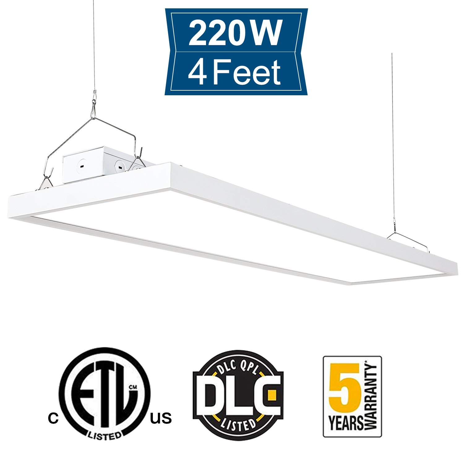 Amico 220W 4FT High Bay Light Fixture, 5000K 26400 Lumens Dimmable Commercial Grade Indoor Industrial Lights, DLC & ETL-Listed, Warehouse, Factory, Garage, Shop light