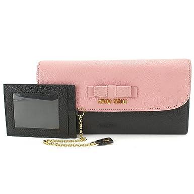 9fc5d4a67eaf ミュウミュウ MIUMIU マドラスピコローレ 二つ折り リボン 長財布 パスケース付 レザー ピンク
