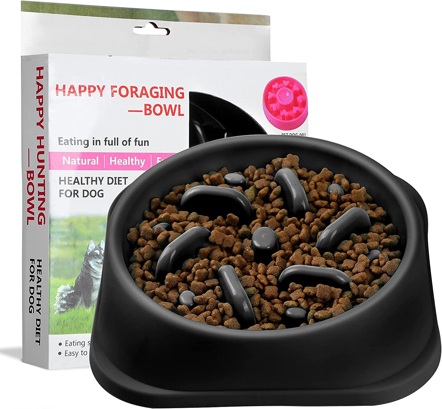 FIETING Slow Feeder Dog Bowls, Fun Feeder Sol Bowl, Maze Interactive Dog Puzzle Non Skid Stop Dog Food Bowls. Eco-Friendly Non Toxic Healthy Design Dog Bowl for Large Medium Small Dogs. (Black)