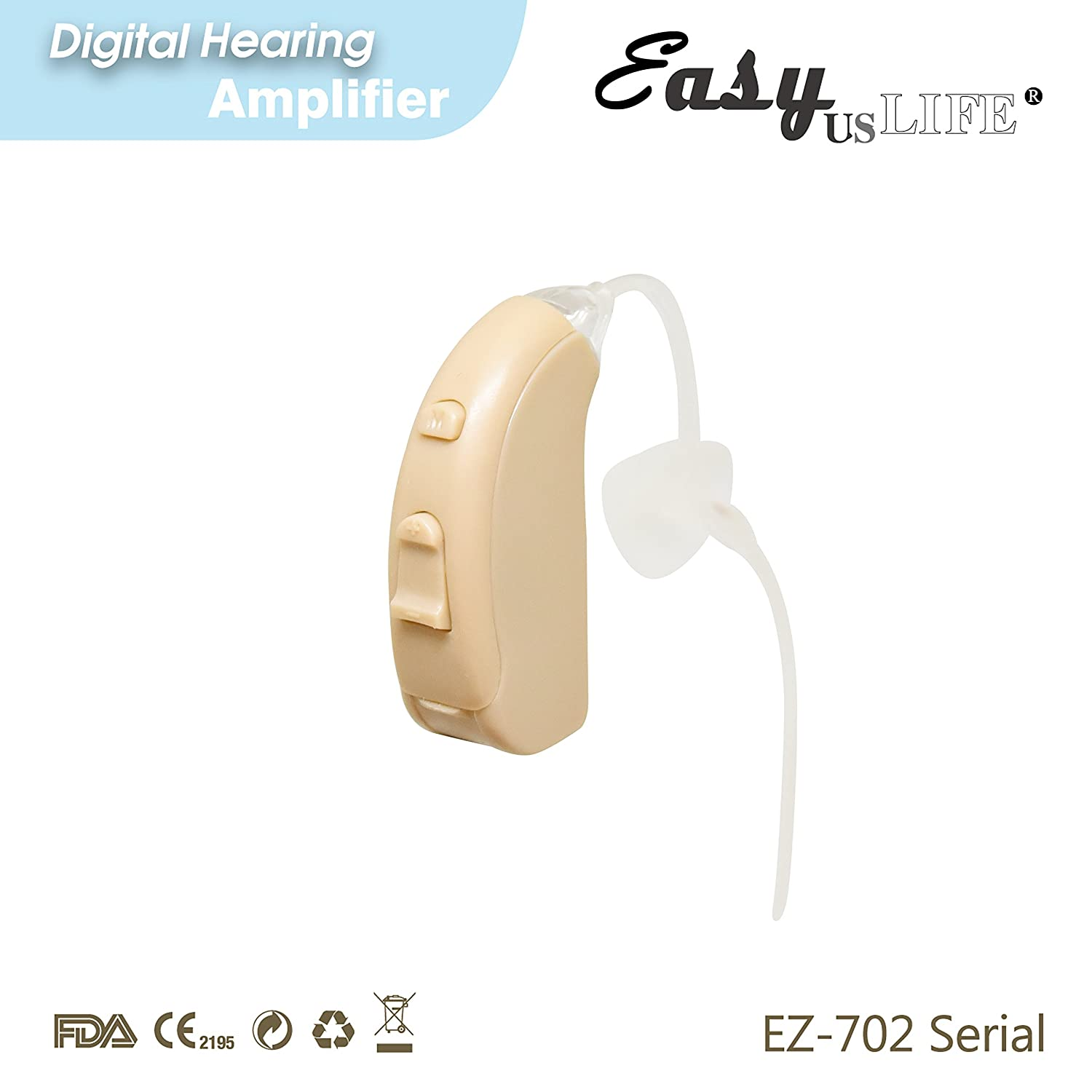 Right Ear Amplifier Beige Color By Easyuslife Hearing Living Aids Amplifiers Accessories Device With Digital Noise Cancellation Discreet Lightweight