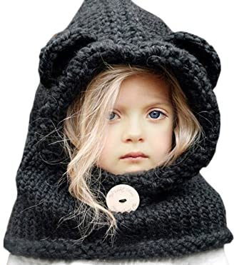 bc336e871b0 Spring Fever Kids Knitted Winter Hat Fox Cat Animal Hooded Coif Oversize  Warm Beanie Scarf Set