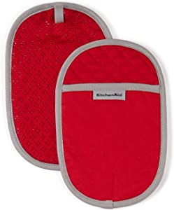 KitchenAid Asteroid Cotton Pot Holders with Silicone Grip, Set of 2, Fire Red 2 Count