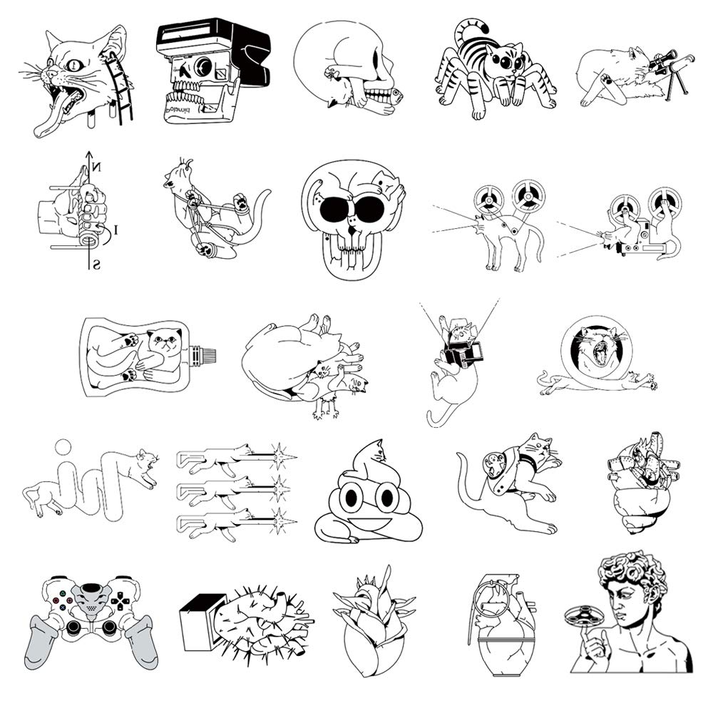 24 Creative Design Temporary Tattoos by Inktells 2020 new,Waterproof fake tattoos for Women Men Adult Kids Boys Girls,Neck Back Arm Hand Stickers about Amimal Cat David Fairy Skull(4 sheets)