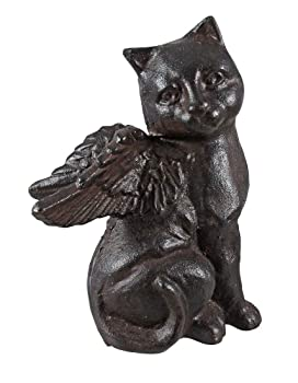 cat iron sitting cat angel statue