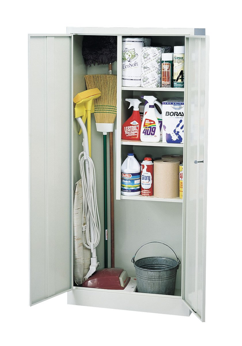 Sandusky VFC1301566-05 30-Inch Wide by 15-Inch Deep by 66-Inch High Janitorial Cleaning Material Storage Three-Shelf Cabinet, Light Grey
