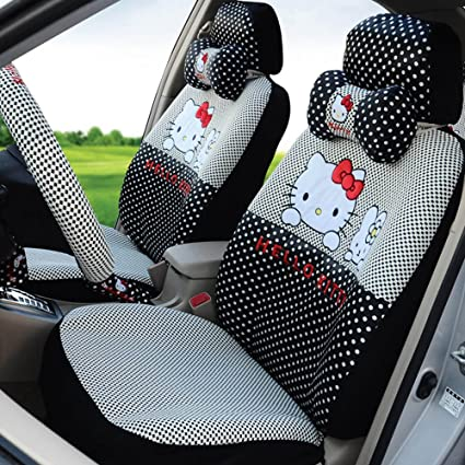 Hello Kitty Black Beautiful Automotive Car Seat Covers Steering Wheel Cover Neck Pillows