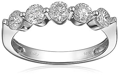 Amazon.com: 14k Gold Five-Stone Diamond Ring (1 cttw, H-I Color ...
