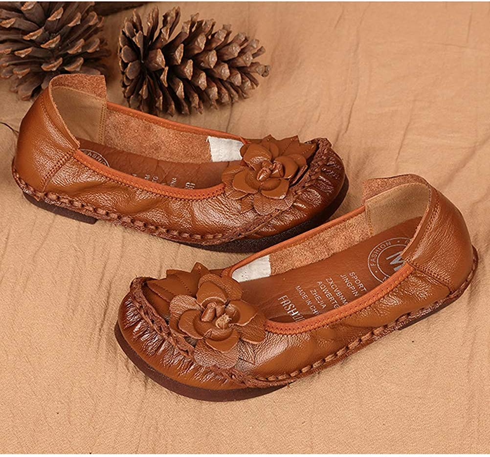 Mordenmiss Womens Flower Ballet Flats Outdoor Driving Slip On Moccasins