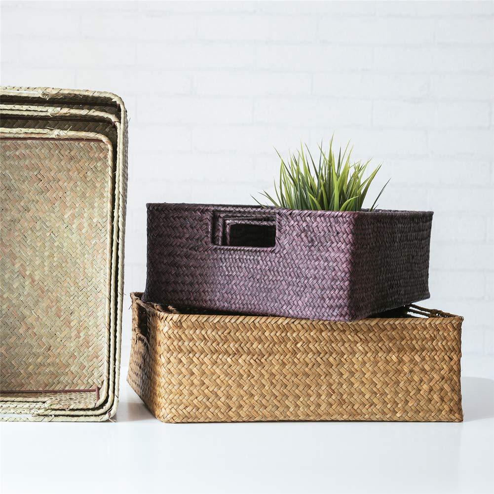 Rectangular Wicker Basket,Straw Storage Basket Rattan Wicker Toys Sundries Storage Baskets-Primary Color 39.5x28.5x12.5cm 16x11x5inch