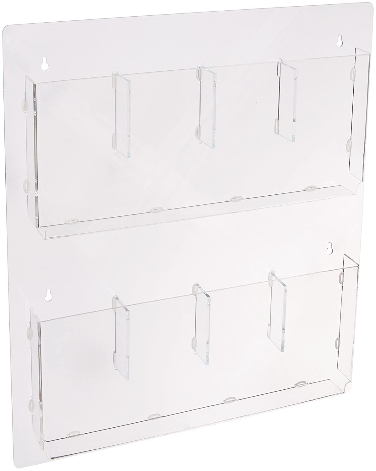 Displays2go Hanging Magazine Racks, Wall Mounting Brochure Holders, Adjustable Dividers, Clear (RP4CLR) George Patton Associates Inc