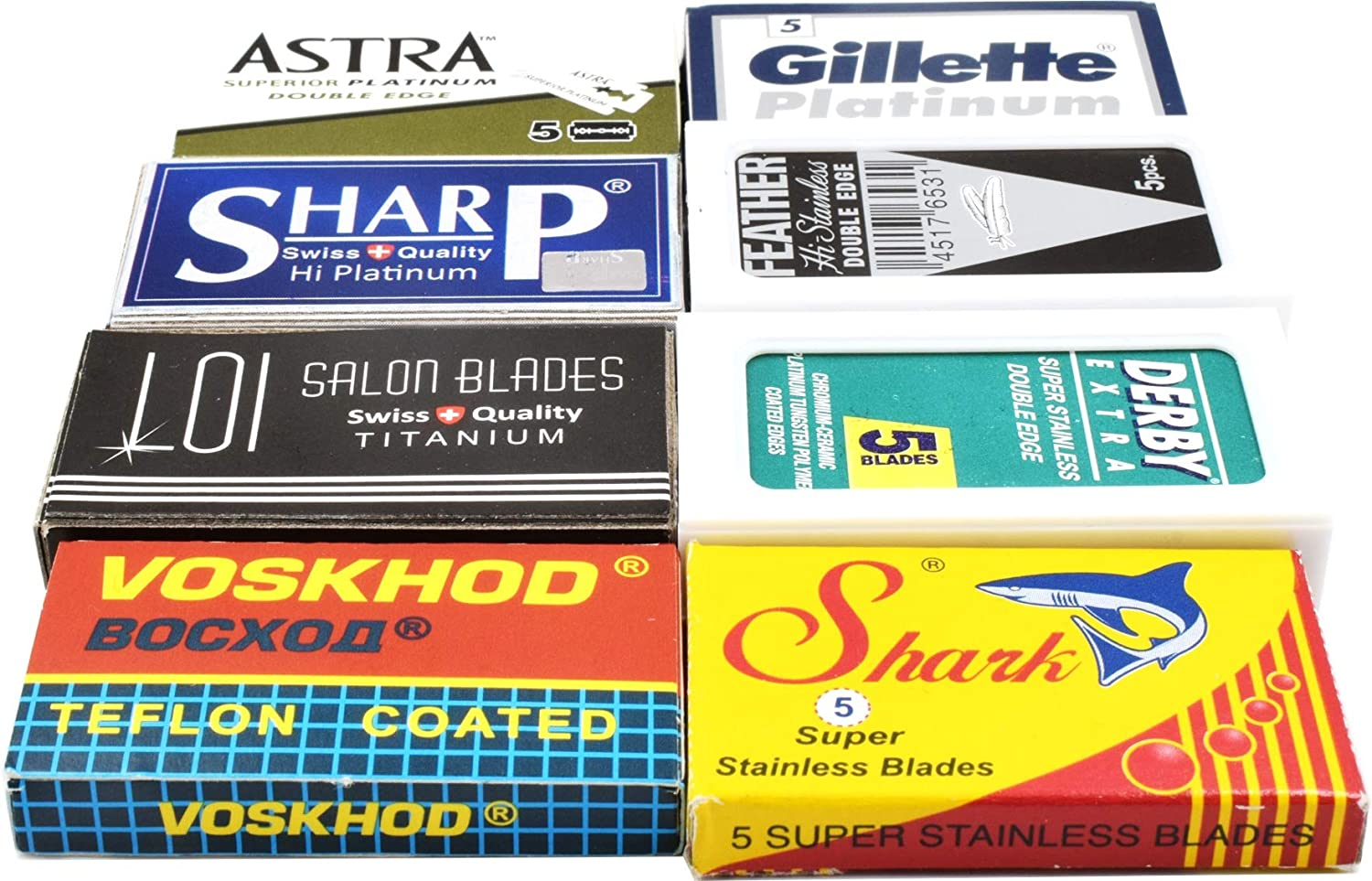 40 Excellent Quality Double Edge Razor Blades Sampler (8 different brands)