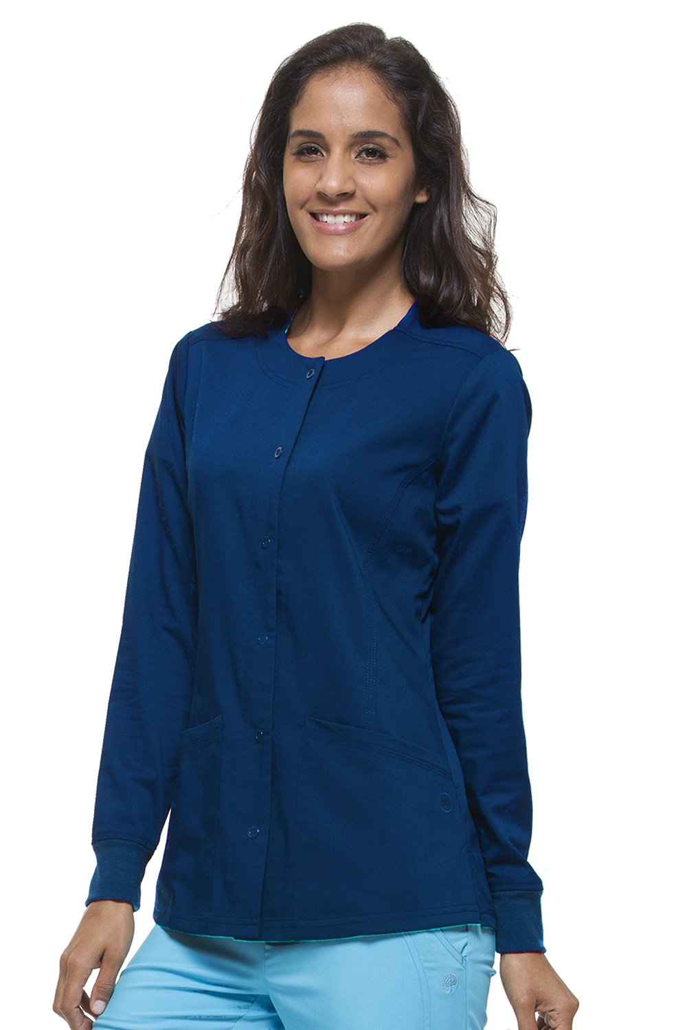 Purple Label Women's Daisy 5063 Snap Button Jacket by Healing Hands Scrubs- Navy- Small