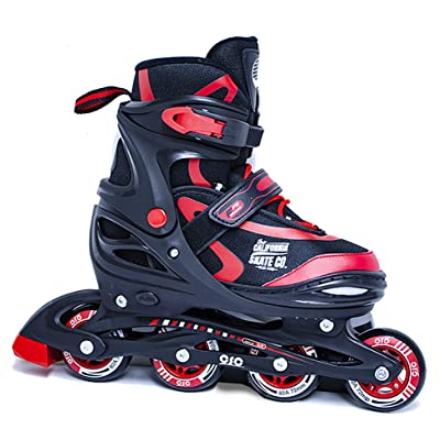 California Skate Co Zuma Kids Adjustable Inline Skates (Black and red, J10-J13) : Sports & Outdoors