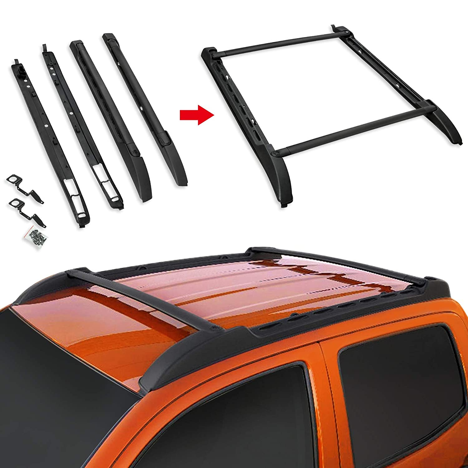 VZ4X4 Black Roof Rack Rail for 2005-2018 Toyota Tacoma Double Cab Style Roof Rack Set